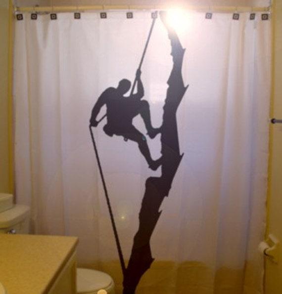 rock climber shower curtain climb rope mountain bathroom decor kids bath cliff wall formations top roping