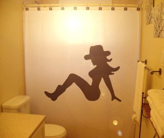 Sexy cowgirl shower curtain pin up cowboy bathroom decor kids for Cowgirl bathroom ideas