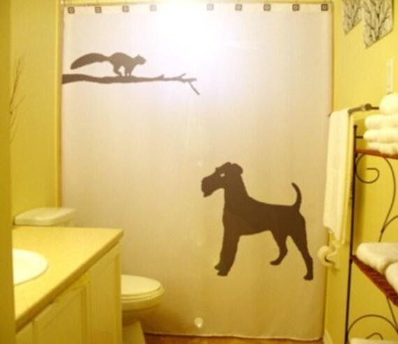 Irish Terrier Squirrel Shower Curtain Dog Tree Bathroom Decor Kids Bath Branch Hunt Stalking custom unique