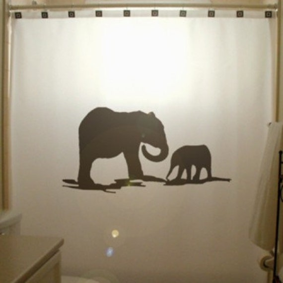 elephants shower curtain elephant family mother baby african wild life kids bathroom bath decor