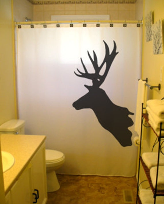 Deer shower curtain trophy hunter bathroom decor buck for Hunting bathroom decor