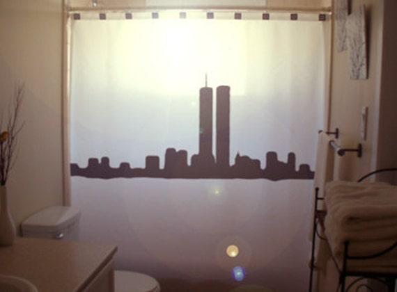 NY New York Shower Curtain Bathroom World Trade Center Twin
