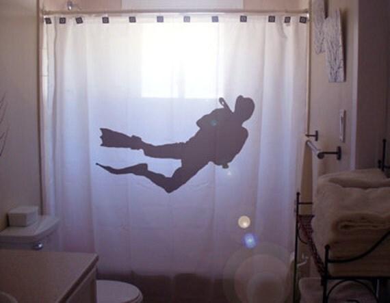 scuba diver shower curtain bathroom decor kids bath ocean. Black Bedroom Furniture Sets. Home Design Ideas
