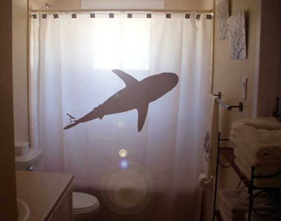 Shark shower curtain bathroom decor for How do sharks use the bathroom