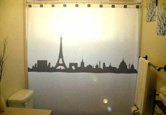 Cityscape Paris Shower Curtain Eiffel by CustomShowerCurtains
