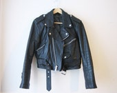 VTG Leather Crop Motorcycle Zipper Belted Jacket Small Medium Womens