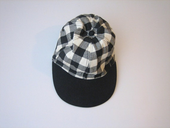 VTG Checkered Black Cream Stripe Square Hat Cap