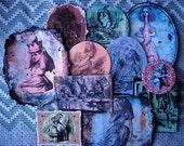 Fancy Handcut STICKER COLLECTION- Alice in Wonderland - A DOZEN in all- A Myriad of Magical Designs