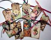 SET of Shipping style TAGS- 9 Large Vintage antique nostalgic Art Tags on Cardstock- Peacocks, Scorpions, Marie Antoinette Fleur-di lis art