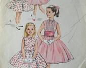 Vintage 1957 McCall's Girls' Sleeveless Dress, Cape and Cummerbund Pattern - Size 4