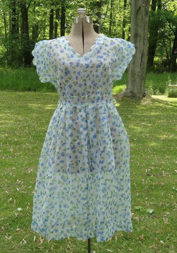Vintage 1960s Nylon Semi Sheer Dress - White and Blue Flowers