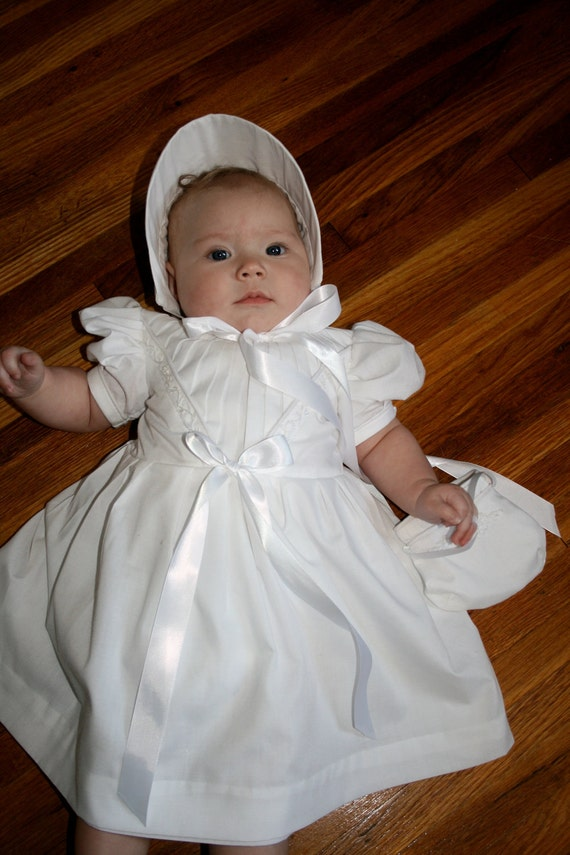 Baby Girl Baptism Dress White Eyelet Embroidered, Includes diaper cover, bonnet or little matching purse New born to size 2t