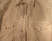 80s cowboy sequin glitter western shirt disco button down men 17.5 35 XL XXL tall Ranch and Town Panhandle Slim