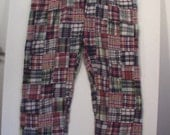 Men's madras pants 36 37 plaid tartan patchwork quilt quilted punk hippie psychedelic stoner 70s