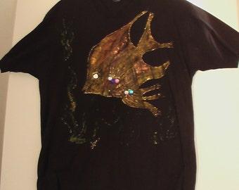 "Mysterious Puffy Paint Delight ""Beauty of the Deep"" jeweled black t-shirt Pisces ooak xl shirt atlantis"