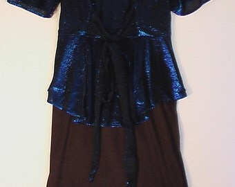 Vintage 1980s glitter dress prom metallic blue 9 10 Dynasty Joan Collins Valley Girl punk kinderwhore
