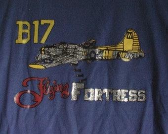 80s art shirt vintage  XL L 42 44 iron on decal glitter b52 boho grunge B17 Flying Fortress air force army