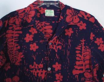 Crazy '80s hawaiian shirt navy red Large men cotton Ui-Maikai tiki lounge cocktail