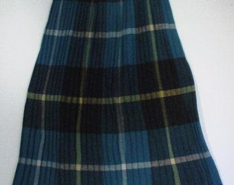 "blue yellow plaid pleated skirt schoolgirl boho bohemian punk tartan wool knit 24"""