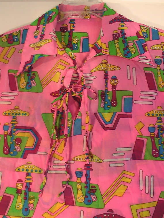Art Disco Blouse shirt top Women's 70s rainbow cocktail party polyester XL psychedelic 46