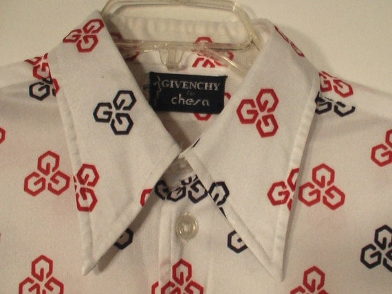 70s Givenchy polyester shirt men disco picture shirt Large L XL 48 Chesa