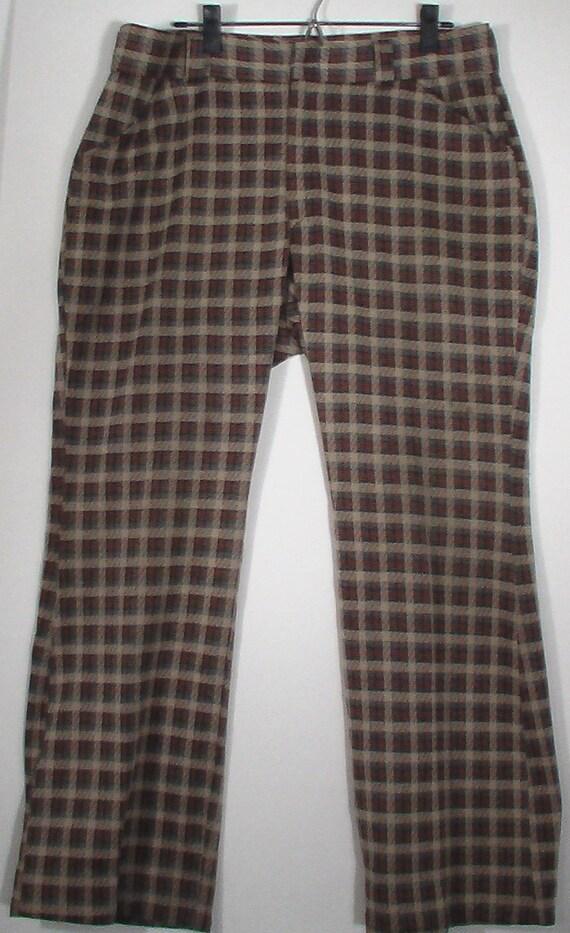 JCPenney men polyester plaid tartan pant 36 37 psychedelic mod disco polyester knit 70s slacks trousers punk grunge