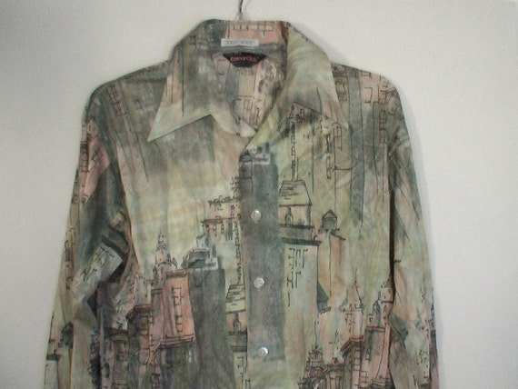 70s polyester disco shirt picture shirt floral paisley grunge hippie psychedelic  art deco mod 16 16.5 L XL Tall 44 46