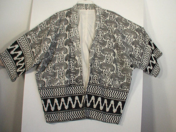 Unusual kimono style jacket Keith Haring op art tribal print tattoo art boho bohemian L XL XXL unisex free size
