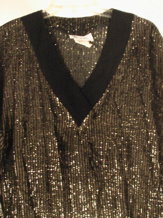 80s New Wave boy george solid gold metallic shirt blouse punk disco art New Romantic foil lame lurex liquid L XL plus unisex 48 50 46