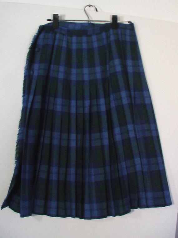 blue green plaid pleated skirt tartan kilt schoolgirl size 16 boho bohemian punk grunge wool