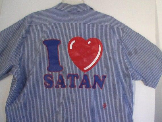 mechanic's shirt punk surfer stripe XL 50 52 I heart Satan goth rock heavy metal