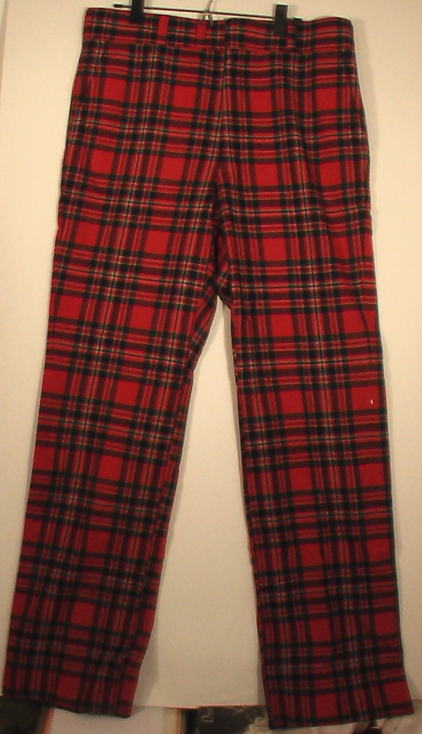 Men's punk red plaid polyester knit pants vintage by BrightCloset