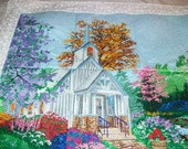 Embroidered church scene wall hanging