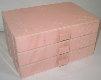 1950's Hard Pink Plastic Jewelry Box