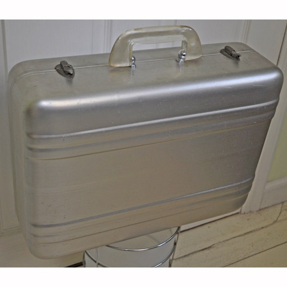 Vintage 1950's Aluminum Photo Case with Clear Handle