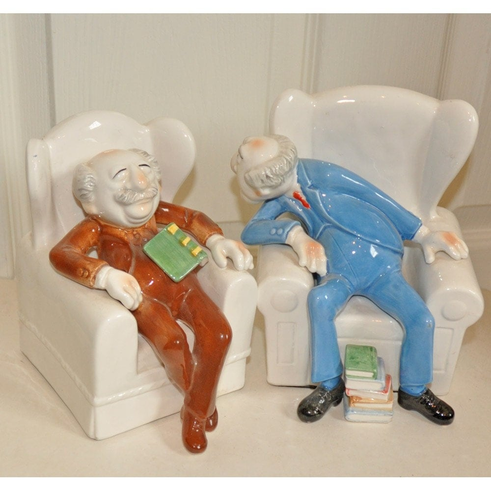 Top 50 Muppets Loc 80: Rare Sigma Statler And Waldorf Ceramic Bookends