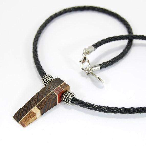 Men's necklace- wood necklace - men leather necklace - men's jewelry