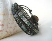Moss Agate Gemstone Beaded P'Leather Double Wrap Bracelet