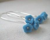 Floral Bouquet Earrings, Blue Bells, Dangle Earrings