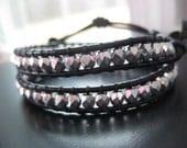 Rocker Chick - Beaded Black Leather Double Wrap Bracelet