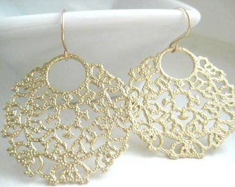 Tacy Earrings, Ornate Filigree Earrings with Gold Filled Earwires