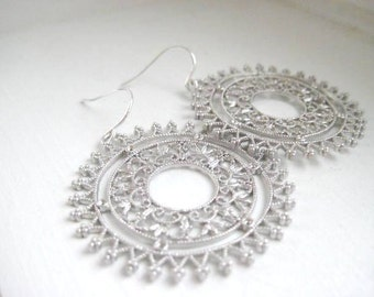 Florence Earrings, Ornate Filigree, Sterling Silver Earwires - Worn by Trista Sutter
