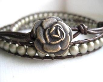 As seen at the GBK 2013 Oscars Celebrity Gift Lounge - Goddess Bracelet in Matte Gold- Beaded Leather Double Wrap Bracelet