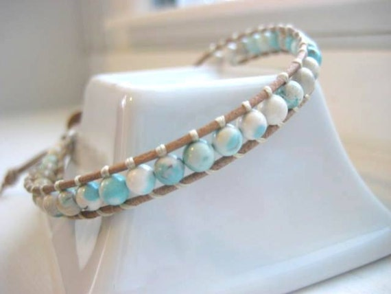 Minty Fresh Magnesite Gemstone Single Wrap Beaded Leather Bracelet