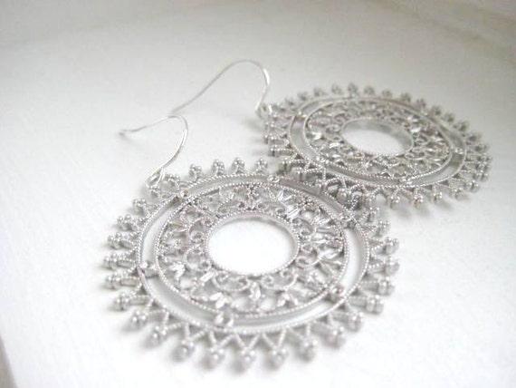 Florence Earrings, Ornate Filigree, Sterling Silver Earwires - Worn by Trista Sutter
