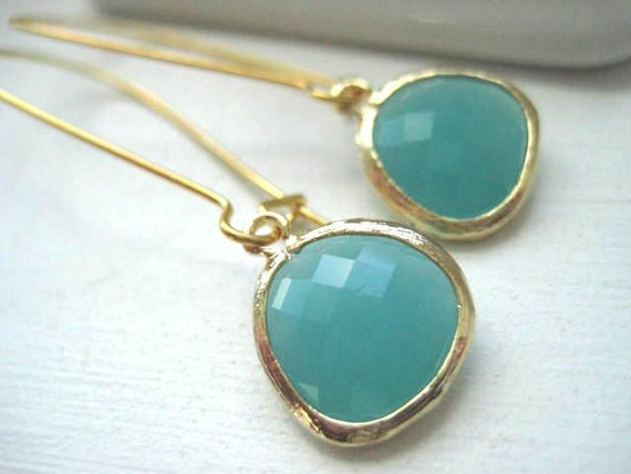 Kyle Earrings in Mint and Gold