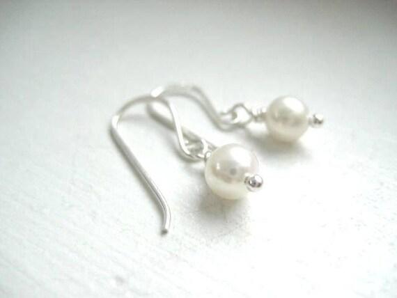 Tiny Pearl Dot Earrings, Sterling Silver Earwires June Birthstone