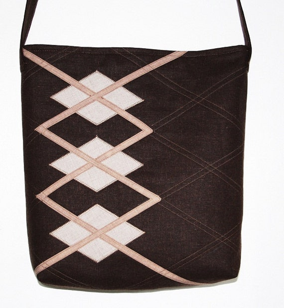Brown quilted cotton messenger bag with diamonds