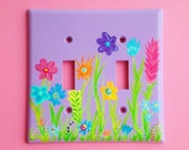 Whimsical Garden Switch plate   Hand painted