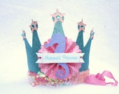 Sparkly Mermaid Princess Crown Party Hat in aqua turquiose, pink and purple glitter